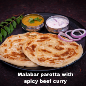 Malabar parotta with spicy beef curry
